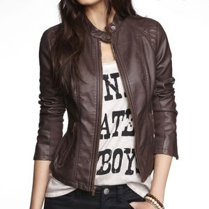Express Women's Brown Vegan Leather Jacket Size L
